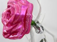 Mouth Blown Glass Large Pink Glass Rose Clip on Tree Ornament